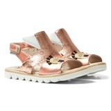 Step2wo Rose Gold Leather Cuckoo Eyelash Sandals