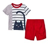 Catimini Red, Navy and White Cat Print Tee and Short Set