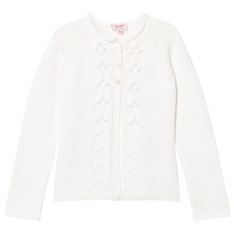 Chalk Mini Basic Organic Knit Cardigan