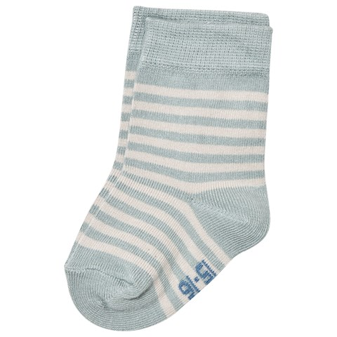 Pastel Blue Uni Stripes Baby Socks