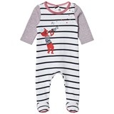 Catimini White, Navy and Red Stripe and Cat Print Babygrow