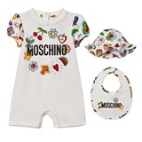 Moschino White Fruit and Branded Romper, Bib and Sun Hat Giftbox