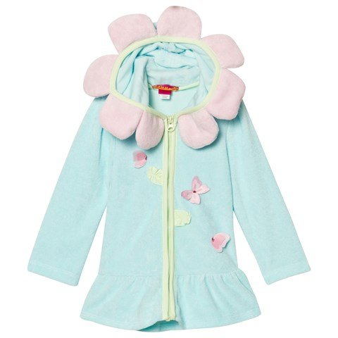 Blue Flower Style Zip Up Terry Towel Hoody