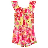 Kate Mack - Biscotti Pink Flower Pint Frill Playsuit