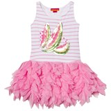 Kate Mack - Biscotti Pink Sequin Watermelon and Stripe Jersey Dress with Feather Tulle Skirt