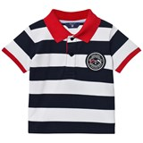 Gant Navy and White Bar Stripe Polo with Contrast Collar