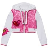 So Twee Pink Sequin Front and Smiley Cropped Hoody