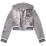 So Twee Grey Sequin Front and Lurex Cropped Hoody