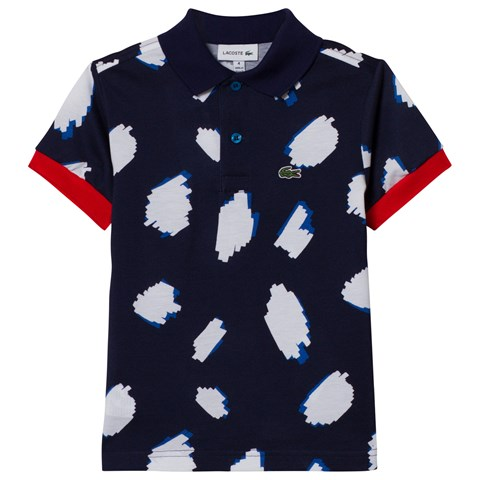 Lacoste Navy and White Patterned Polo