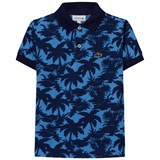 Lacoste Navy and Blue Palm Print Pique Polo
