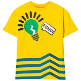 Fendi Yellow Zig Zag Lightbulb Print Tee