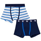 Petit Bateau 2 Pack of Navy and White Stripe and Star Print Trunks