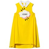 Fendi Yellow Branded Gathered Dress
