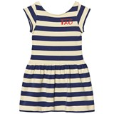 The Animals Observatory Soft Yellow Stripes Sparrow Kids Dress