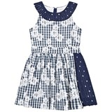 No Added Sugar Navy Floral Gingham Dress with Frill Detail