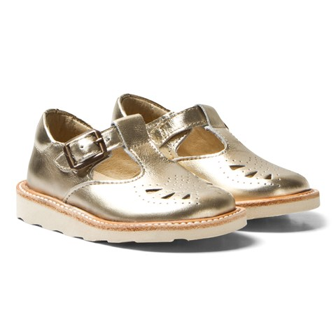 Young Soles Gold Leather Rosie T Bar Shoes
