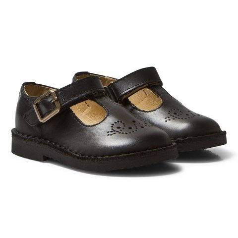 Young Soles Black Leather Penny T Bar Shoes