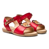 Moschino Red Vitello Branded Sandals