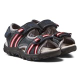 Geox Navy and Red Velcro Strada Sandals