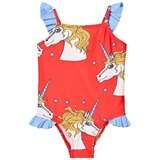 Mini Rodini Red Unicorn Star Wing Swimsuit