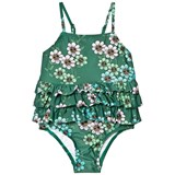Mini Rodini Dark Green Daisy Frill Swimsuit