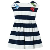 Dolce & Gabbana Navy and White Stripe Jersey Dress with Cherry and Bird Applique