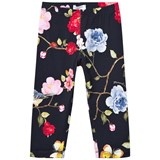 Monnalisa Navy Rose and Butterfly Print Leggings