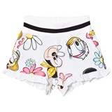 Monnalisa White Flower and Minnie Print Jersey Shorts