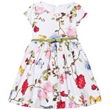 Monnalisa White Flower and Butterfly Print Dress with Bow Belt