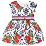 Monnalisa Navy and Red Strawberry Print Party Dress