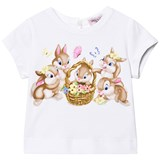 Monnalisa White Easter Bunnies and Diamante Print Tee