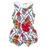 Monnalisa White and Navy Strawberry Print Playsuit