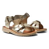 Young Soles Rose Gold Leather Pearl Buckled Sandals
