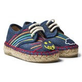 Stella McCartney Kids Rae Denim Espadrilles with Embroidered Rainbow