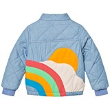 Tootsa MacGinty Blue Denim Padded Jacket with Rainbow and Sun Applique