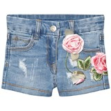 Monnalisa Blue Rose Embroidered Denim Shorts