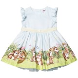 Monnalisa Blue Easter Bunny Print Party Dress