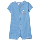 Petit Bateau Blue and White Stripe Romper with Swimming Print