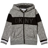 DKNY Grey Marl Zip Hoody with Rubberised Logo
