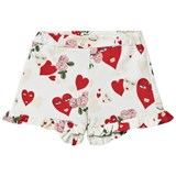 Vivetta White Heart and Flower Print Frill Jersey Shorts