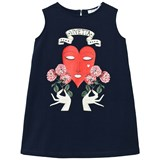 Vivetta Navy Heart and Hands Print Sleeveless Jersey Dress