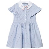 Vivetta Blue Spot Stripe Dress with Hand Embroidered Collar