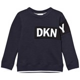 DKNY Navy Cotton Fleece Sweater with Rubberised Logo