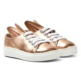Minna Parikka Rose Gold Metallic Leather Bunny Trainers