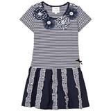 Le Chic Navy and Stripe Jersey Dress with Ruffle Detail