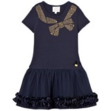 Le Chic Navy Dress with Gold Studded Bow