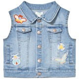 Margherita Kids Denim Sleeveless Jacket with Butterfly Applique