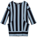 Koolabah Black/Light Blue Striped Pocket Dress