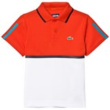 Lacoste Red and White Ribbed Collar Shirt