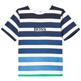 BOSS Blue and Green Stripe Branded Tee
